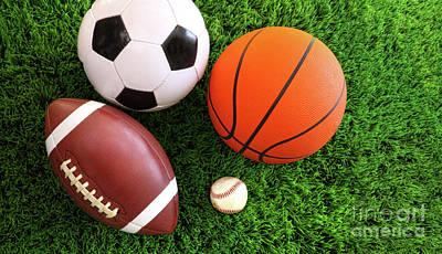 Photograph - Assortment Of Sport Balls On Grass by Sandra Cunningham