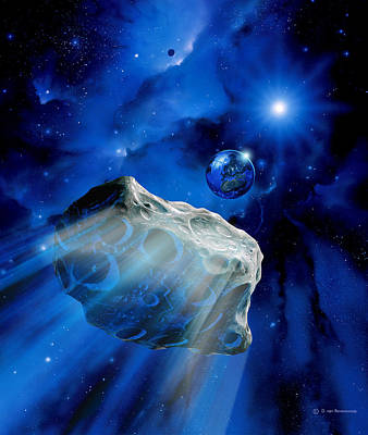 Asteroid Approaching Earth Art Print by Detlev Van Ravenswaay