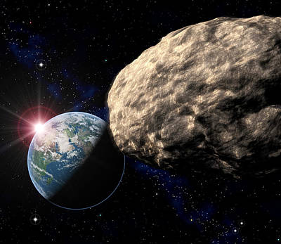 Asteroid Approaching Earth Art Print by Roger Harris
