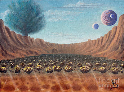 Print featuring the painting Asteroid Field From Arboregal by Dumitru Sandru