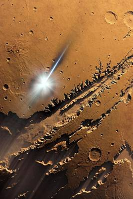 Asteroid Impact On Mars, Artwork Art Print by Detlev Van Ravenswaay