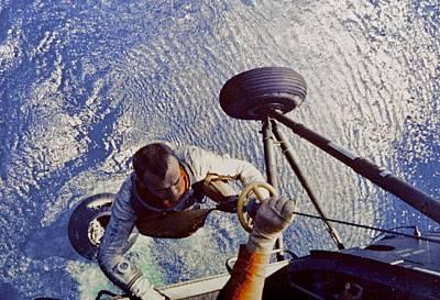 Astronaut Alan B. Shepard Is Hoisted Art Print by Everett