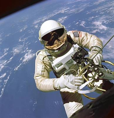 Astronaut Edward White Floats In Space Art Print