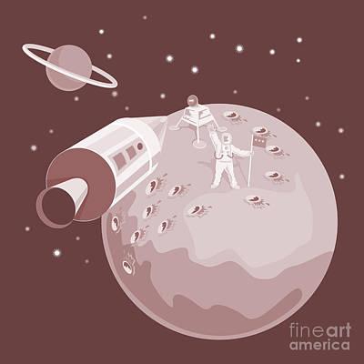 Rocket Digital Art - Astronaut Landing On Moon Retro by Aloysius Patrimonio