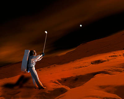 Astronaut Playing Golf On Mars Art Print by Victor Habbick Visions
