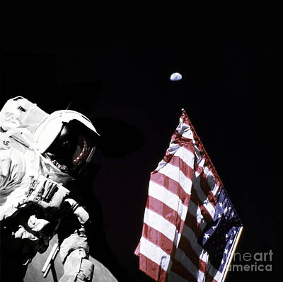 Photograph - Astronaut Stands Next To The American by Stocktrek Images
