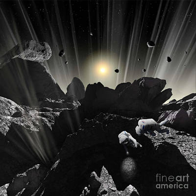 Planetoid Digital Art - Astronauts Explore The Tumultuous by Ron Miller