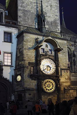 Astronomical Clock At Night Art Print by Sally Weigand