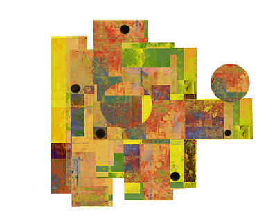 Color Block Mixed Media - Asymmetry 1 Abstract Art Collage by Ann Powell