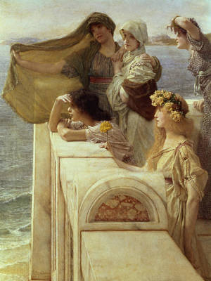 Maiden Painting - At Aphrodite's Cradle by Sir Lawrence Alma-Tadema