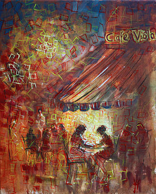 Painting - At Cafe' Viola by Viola El
