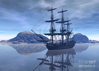 Blue Pirate Ships Landscape Digital Art - At Destination by Sipo Liimatainen
