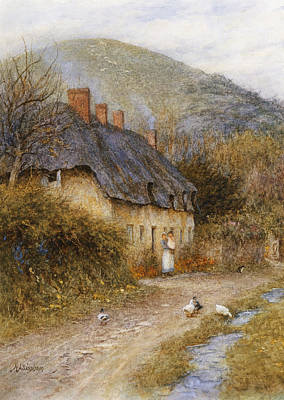 Ducks Painting - At Symondsbury Near Bridport Dorset by Helen Allingham