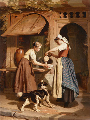Pouring Painting - At The Dairy by Theodore Gerard