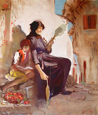 Lady Painting - At The Doorstep by Ylli Haruni