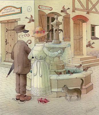 At The Fountain Art Print by Kestutis Kasparavicius