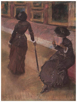 Lourve Painting - At The Louvre by Edgar Degas