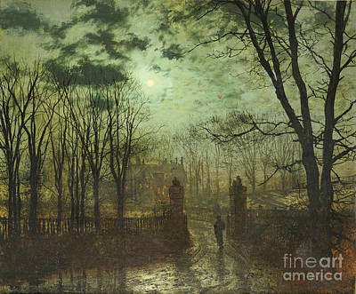 Mansion Painting - At The Park Gate by John Atkinson Grimshaw