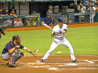 Evan Longoria Photograph - At The Plate by Becky Wanamaker