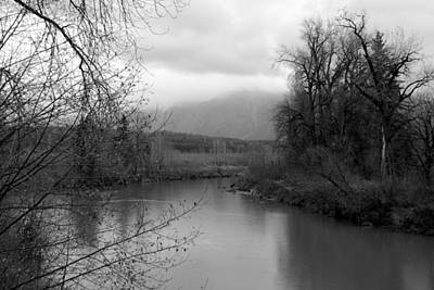 At The River Turn Bw Art Print