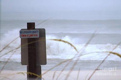 Life Gaurd Photograph - At Your Own Risk by Monica Poole