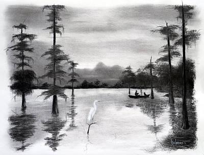 Cypress Swamp Drawing - Atchafalaya Buddies by Ron Landry