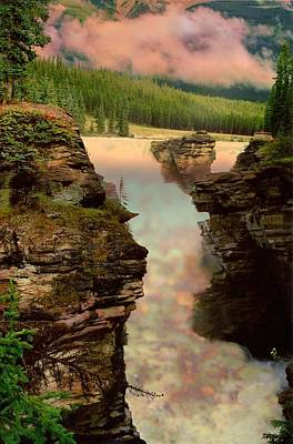 Athabasca Falls Evening Art Print by Shirley Sirois