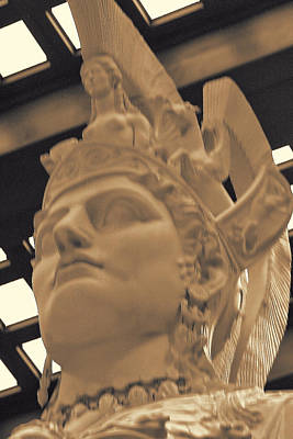 Athena Sculpture Sepia Art Print by Linda Phelps