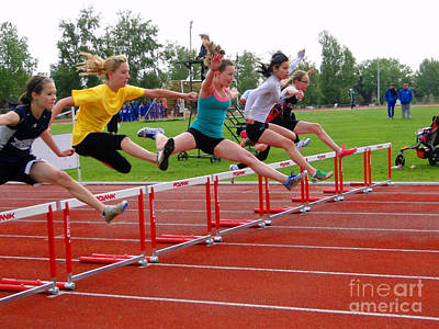 Athletic Hurdlers Competition Art Print by Al Bourassa