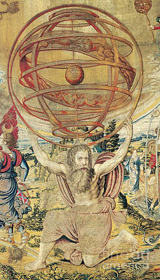 Art Roman Photograph - Atlas Supporting The Armillary Sphere by Photo Researchers