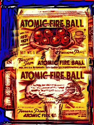 Cardboard Mixed Media - Atomic Fire Ball by Russell Pierce