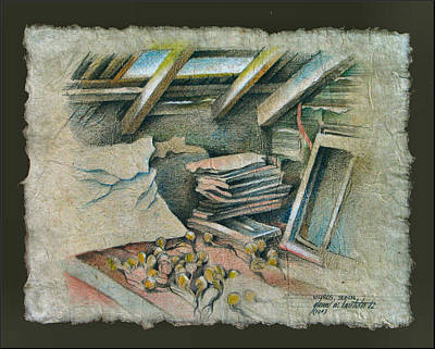 Drawing - Attic In Muros 1982 by Glenn Bautista
