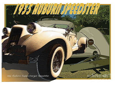 Digital Art - Auburn Speedster by Kenneth De Tore