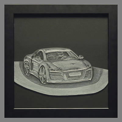 Carved Glass Painting - Audi R8 by Akoko Okeyo