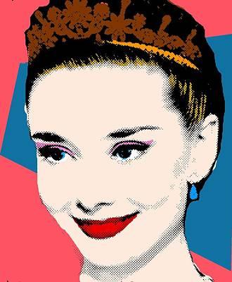Audrey Hepburn Pop Art Coral Blue Art Print by Bao Studio