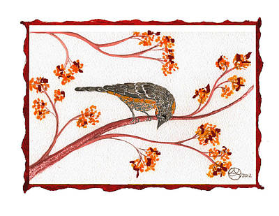 Lady Who Loves Birds Painting - Audubon Warbler by Alexandra  Sanders
