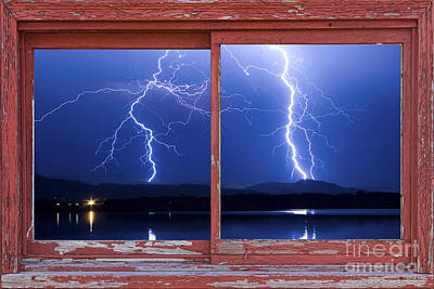 August 5th Lightning Storm Red Picture Window Frame Photo Art Art Print by James BO  Insogna