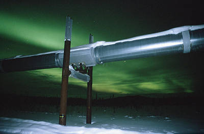 Dalton Highway Photograph - Aurora Borealis Over Pipeline by Matthias Breiter
