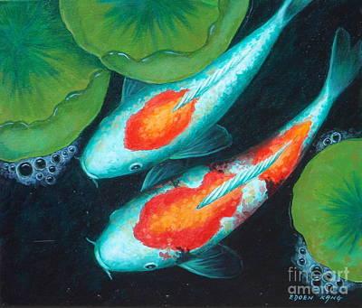 Painting - Auspicious Koi Pond 10 by Edoen Kang