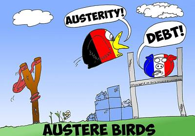 Debt Mixed Media - Austere Birds Caricature by OptionsClick BlogArt