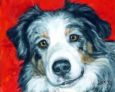 Australian Shepherd Blue Merle Aussie On Red Art Print by Dottie Dracos