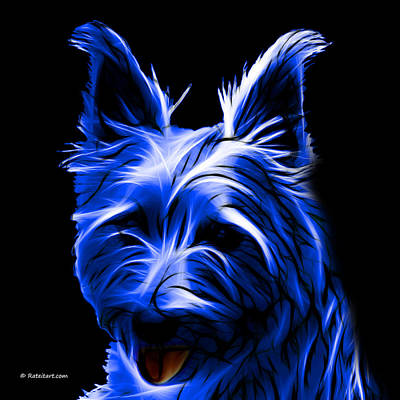 Digital Art - Australian Terrier Pop Art - Blue by James Ahn
