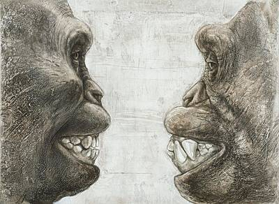Fossil Reconstruction Photograph - Australopithecus And Chimpanzee Teeth by Kennis And Kennismsf
