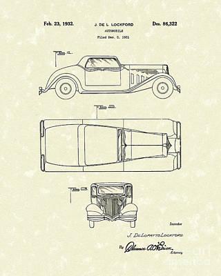 Antique Automobiles Drawing - Automobile 1932 Patent Art by Prior Art Design