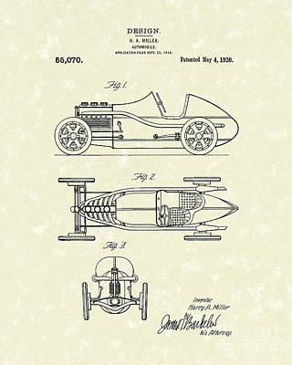 Motorcar Drawing - Automobile Miller 1920 Patent Art by Prior Art Design