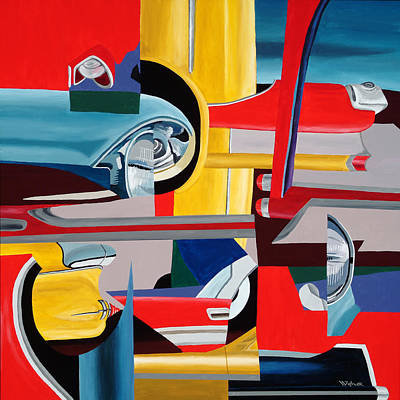 Painting - Autopia Circa 1957 by Randall Weidner