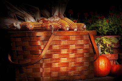 Autumn - Gourd - Fresh Corn Art Print by Mike Savad