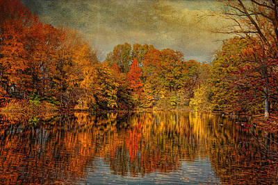 Autumn - Landscape - Tamaques Park - Autumn In Westfield Nj  Art Print by Mike Savad
