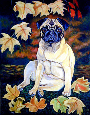 Pug Dog Painting - Autumn - Pug by Lyn Cook