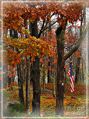 Photograph - Autumn And The Flag by Joan  Minchak